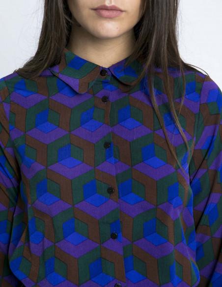 Camisa estampado geometrico morado compañia fantastica sommes demode zaragoza