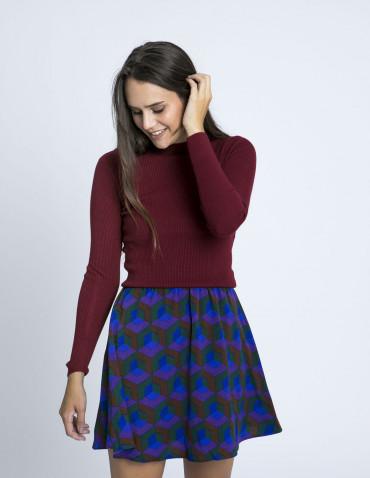 Falda estampado geometrico morado compañia fantastica zaragoza sommes demode