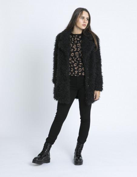 abrigo negro peluche tito ichi zaragoza sommes demode