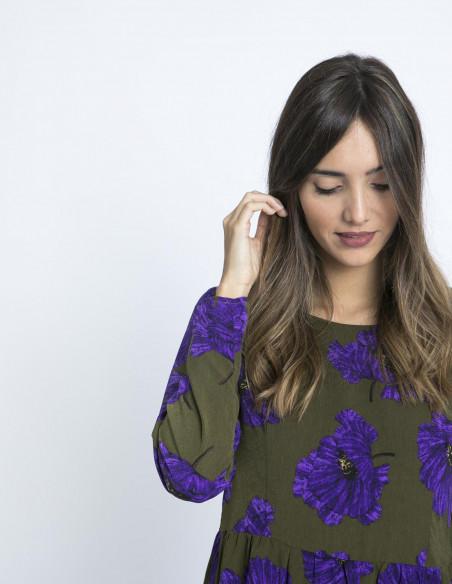 Vestido Flores Púrpuras Compañía Fantástica Sommes Démodé Zaragoza