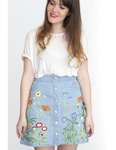 FALDA DENIM BORDADOS