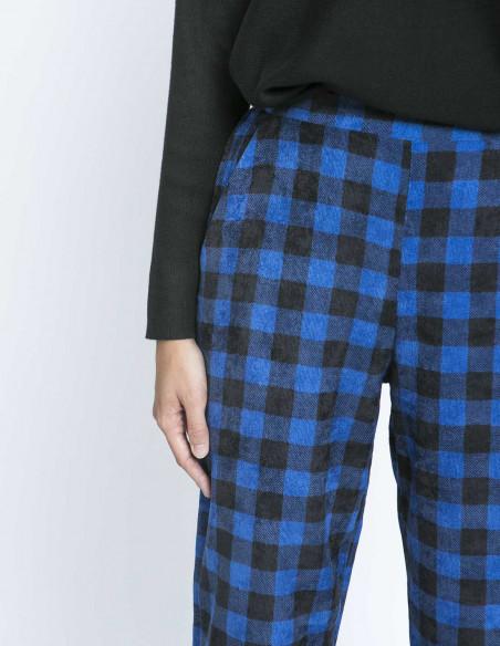 pantalon pana cuadros vichy azul compañia fantastica zaragoza sommes demode