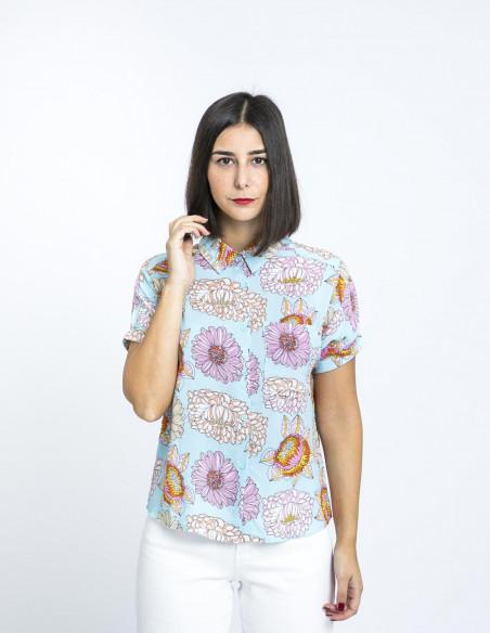 camisa azul flores compañia fantastica online sommes demode zaragoza