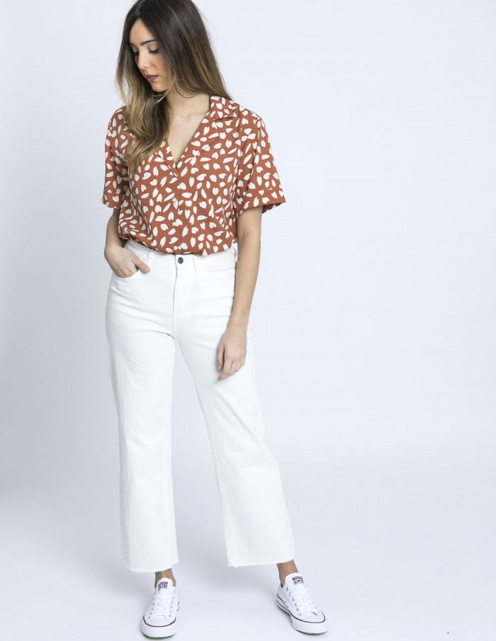 camisa petalos marron compañia fantastica online sommes demode zaragoza