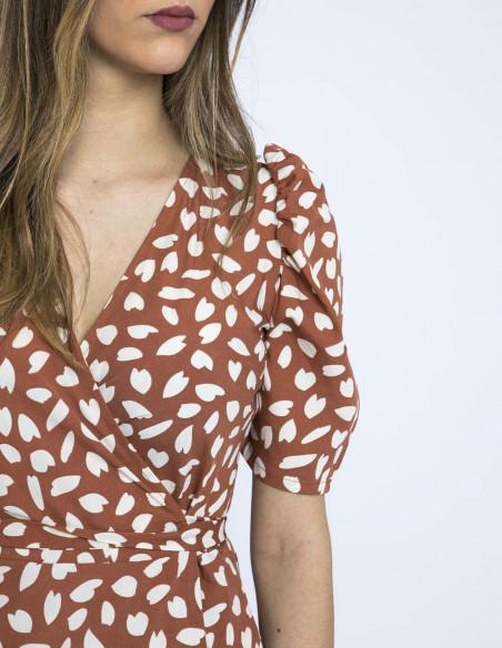 vestido cruzado petalos marron compañia fantastica online sommes demode zaragoza