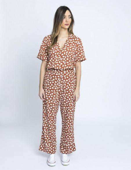 pantalon petalos marron compañia fantastica online sommes demode zaragoza