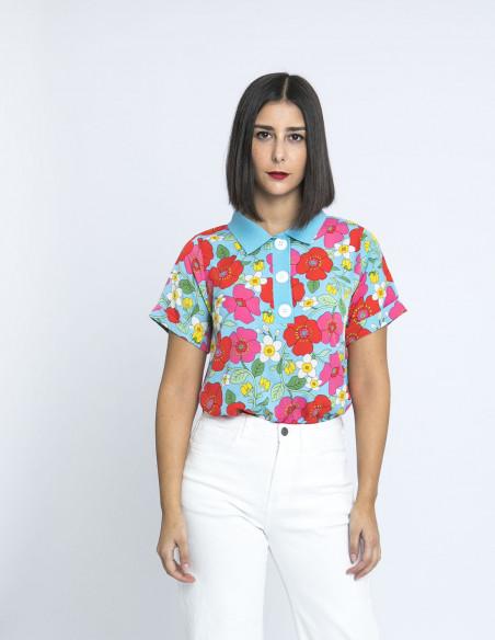 polo estampado floral amapolas compañia fantastica online sommes demode zaragoza
