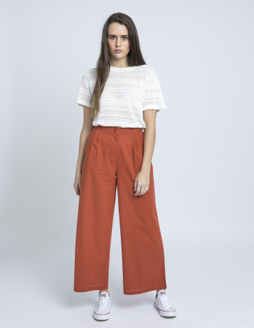 pantalon amplio marron pinzas compañia fantastica online sommes demode zaragoza