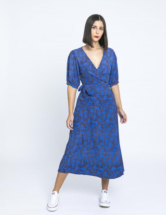 vestido cruzado azul flores glamorous online sommes demode zaragoza