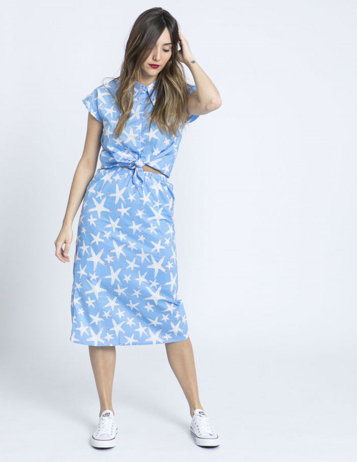 falda midi estrellas de mar compañia fantastica sommes demode online