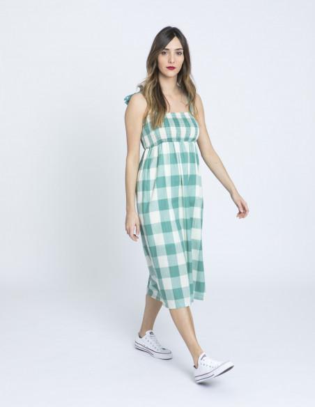 vestido midi cuadros verdes compañia fantastica sommes demode zaragoza