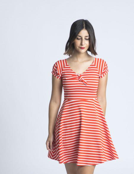 vestido corto rojo rayas compañia fantastica sommes demode
