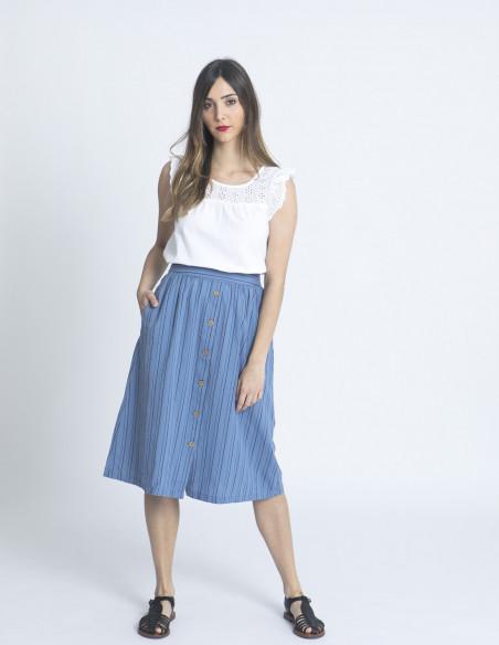 falda azul rayas ywisse blendshe sommes demode