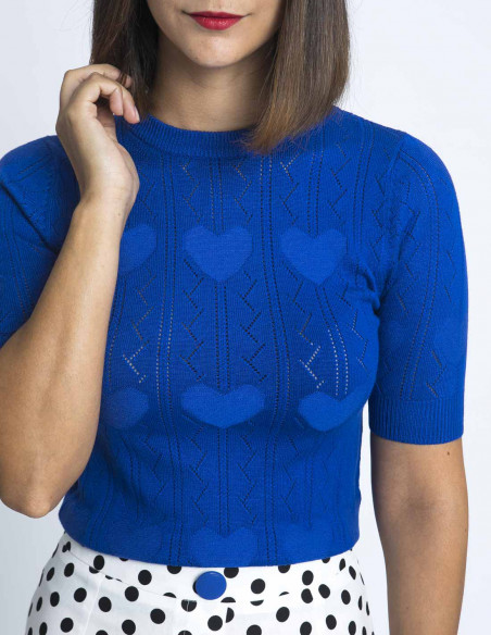 top punto azul corazones kling sommes demode