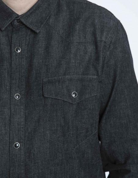 camisa denim saxon black solid sommes demode zaragoza