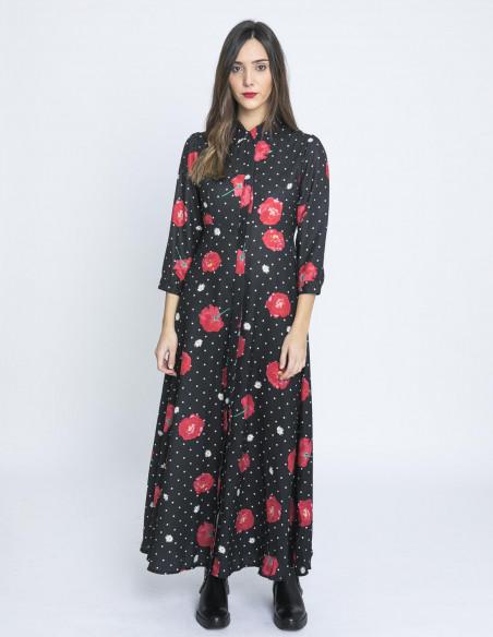 vestido largo lunares y rosas kling sommes demode zaragoza