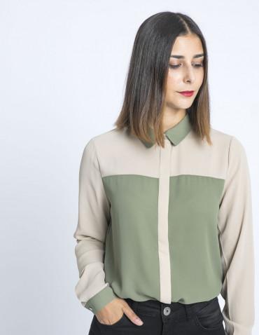 camisa bicolor hajdi verde ichi sommes demode zaragoza