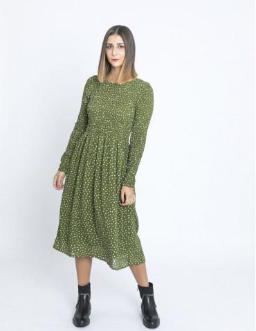 vestido midi verde lunares compañia fantastica zaragoza