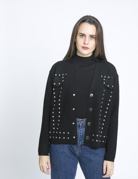chaqueta punto tachas negro meisie sommes demode zaragoza