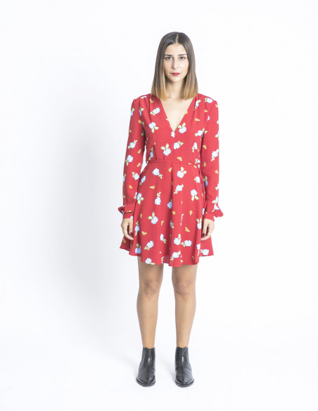 vestido rojo flores glamorous sommes demode zaragoza