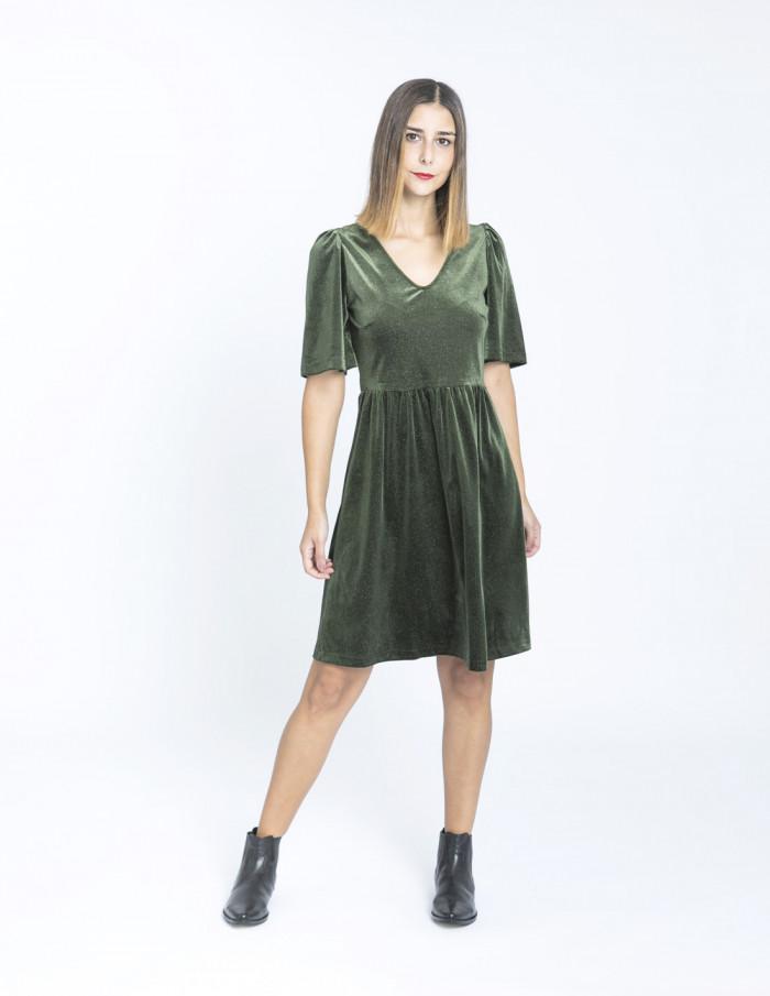 vestido rianna terciopelo verde sommes demode zaragoza