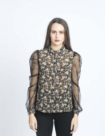 camisa flores mangas plumeti meisie sommes demode zaragoza
