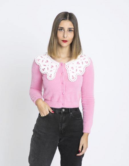 cardigan rosa cuello bobo glamorous sommes demode zaragoza