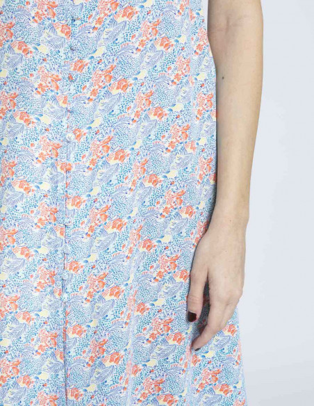 vestido azul flores see u soon sommes demode zaragoza
