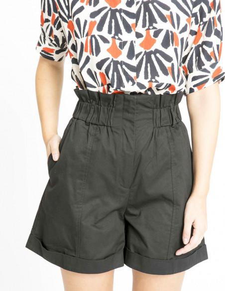 shorts tiro alto cintura elastica negro compañia fantastica sommes demode zaragoza