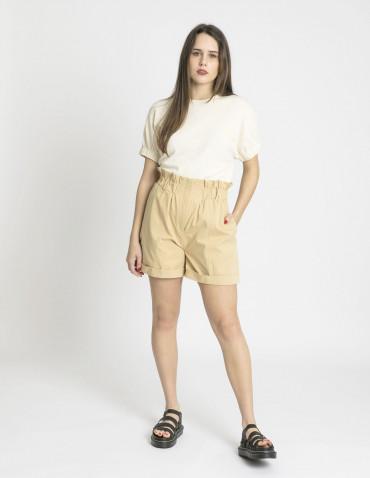 shorts tiro alto cintura elástica beige compañia fantastica sommes demode zaragoza