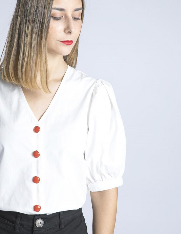 camisa blanca botones rojos wild pony sommes demode zaragoza