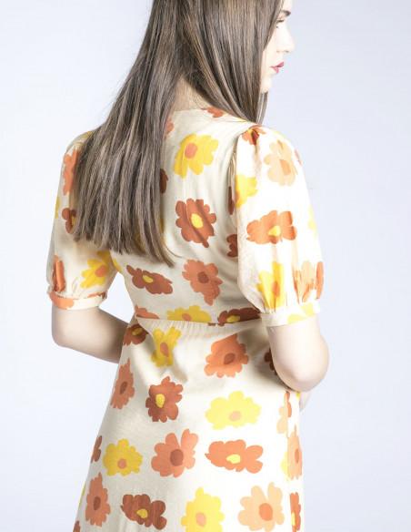 vestido midi camisero flores naranjas wild pony sommes demode zaragoza