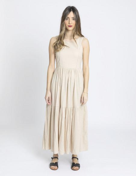 vestido largo beige skatie sommes demode zaragoza