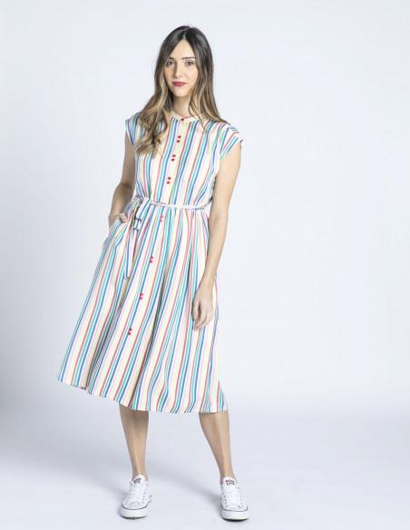 vestido midi rayas de colores compañia fantastica sommes demode zaragoza