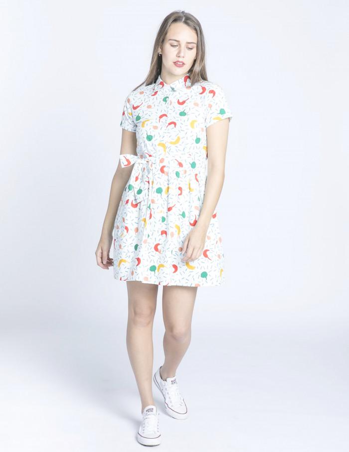 vestido corto camisero guindillas compañia fantastica sommes demode zaragoza
