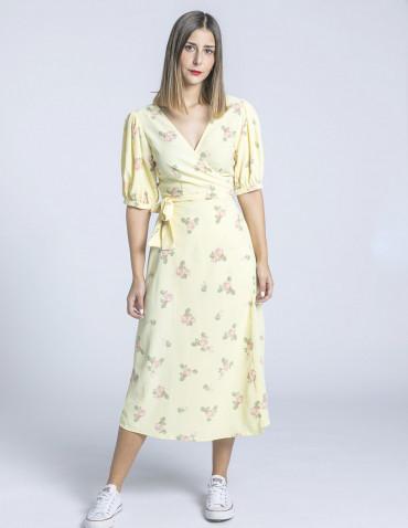 vestido midi amarillo flores glamorous sommes demode zaragoza