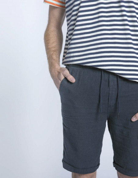 pantalon corto lino azul truc solid sommes demode zaragoza
