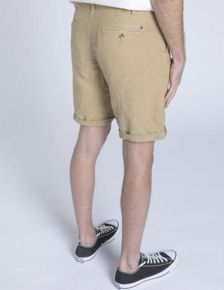pantalon corto lino arena puju solid sommes demode zaragoza