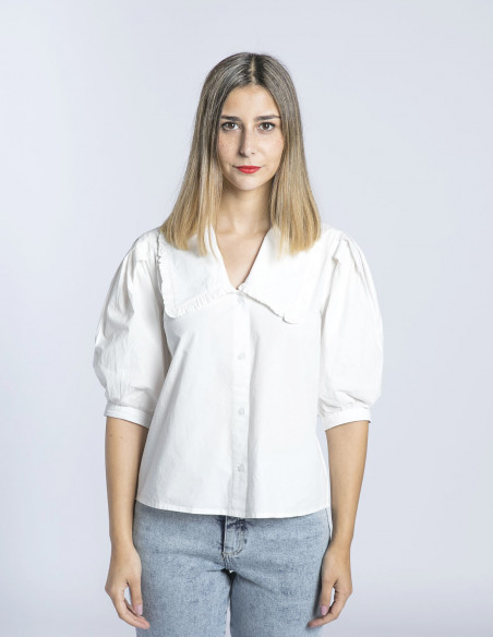camisa blanca cuello inkala ichi sommes demode zaragoza