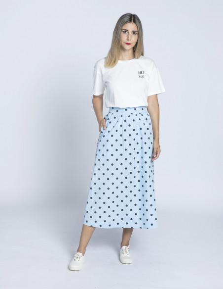 falda azul lunares daphne ichi sommes demode zaragoza