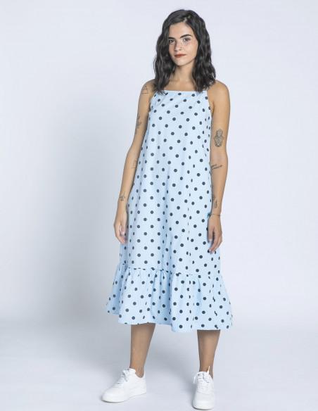 vestido azul lunares daphne ichi sommes demode zaragoza