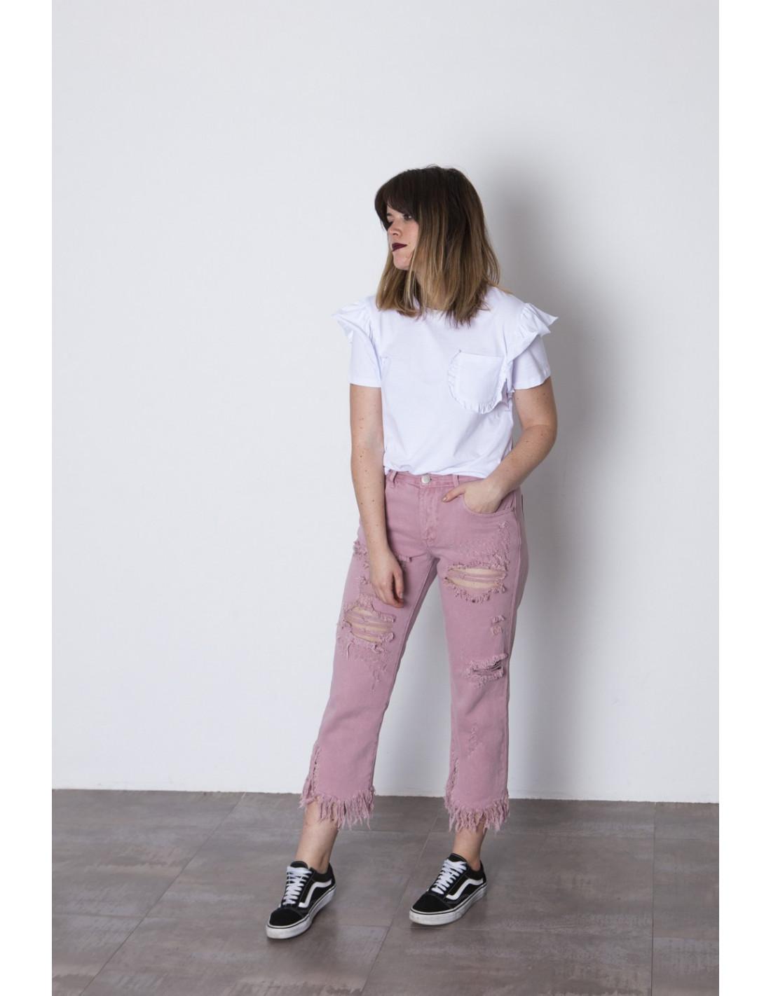 Jeans Rotos En Rosa Glamorours