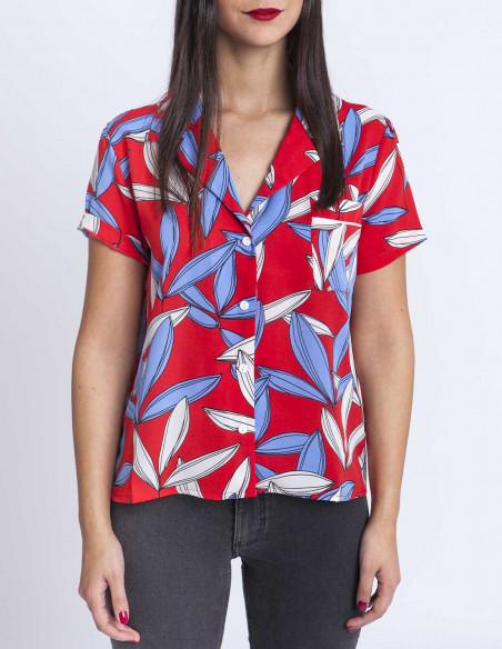 Camisa tropical roja elli white sommes demode zaragoza