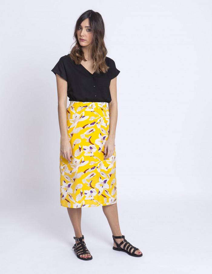 Falda midi amarilla flores compañia fantastica sommes demode zaragoza