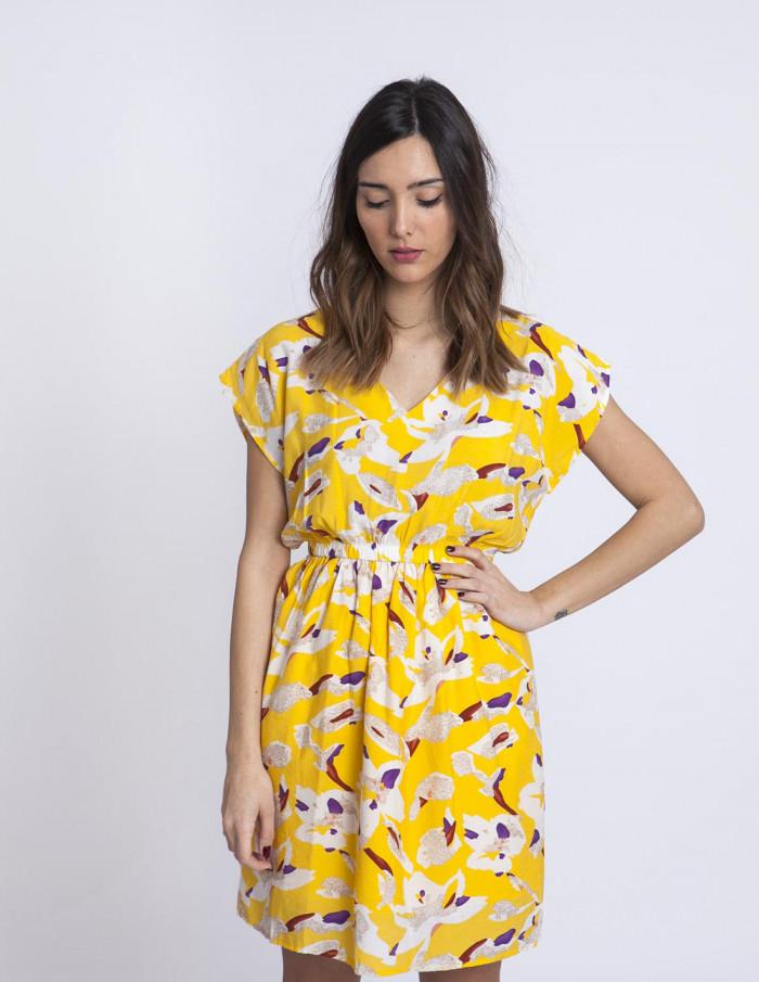 Vestido amarillo flores compañia fantastica sommes demode zaragoza