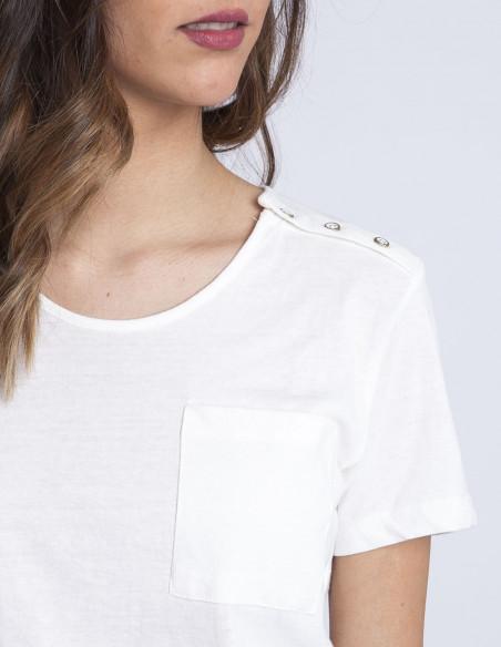 Camiseta blanca bolsillo ICHI Sommes Demode zaragoza
