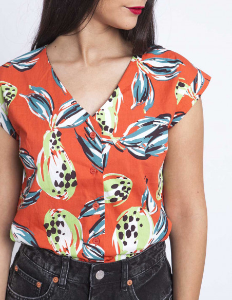 Camisa coral tropical sommes demode zaragoza