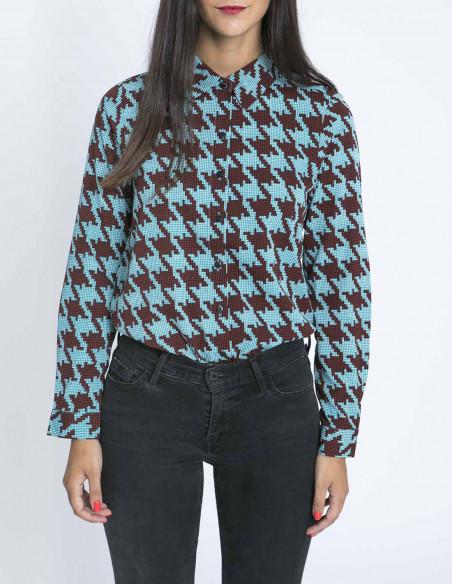 Camisa Azul Pata de Gallo Compañía Fantástica Sommes Démodé